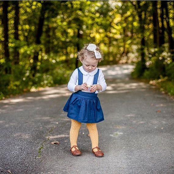 Girl's Jumper in Navy, Blue Suspender Skirt, Navy Jumper, Blue Linen Skirt, Girls Jumper, Toddler Skirt