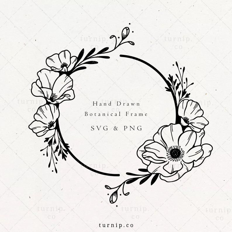 Poppy Flower Frame Svg Png Clipart Sublimation Graphic Design Black And White Circle Wreath Print Art Floral Border Instant Download Poppy Flower Drawing Poppy Flower Poppies