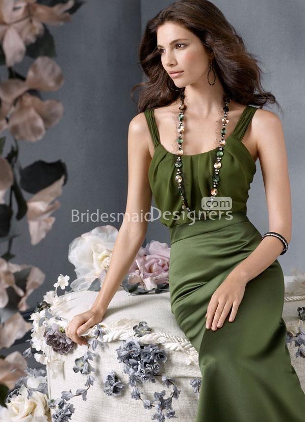Moss Satin A-line Floor Length Bridesmaid Dress with Scooped Neckline at Bridesmaiddesigner.com