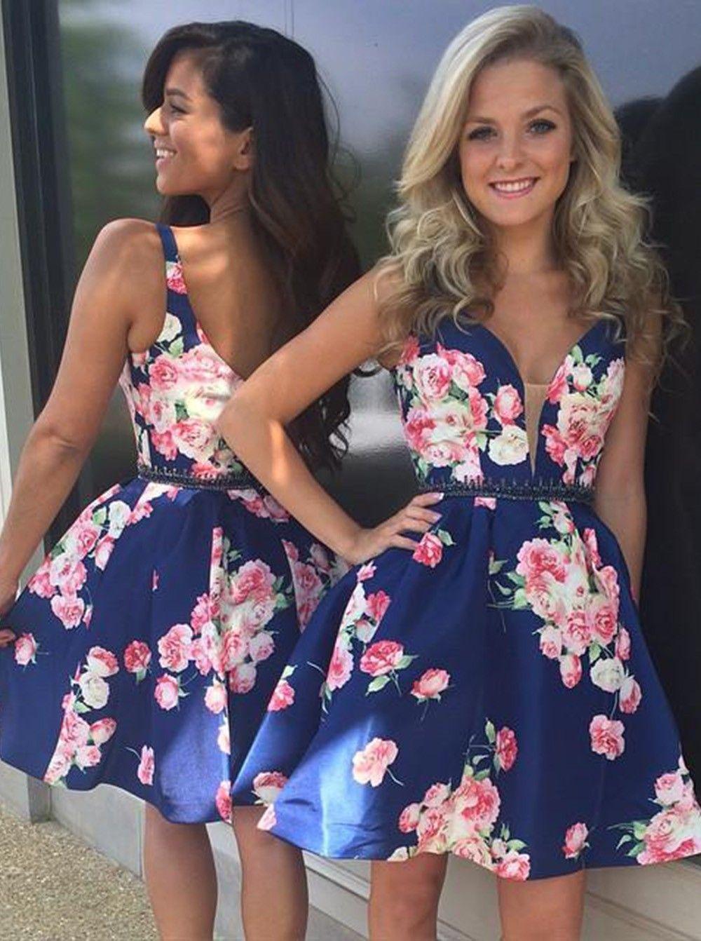 Elegant a line low vneck floral print satin short homecoming dress