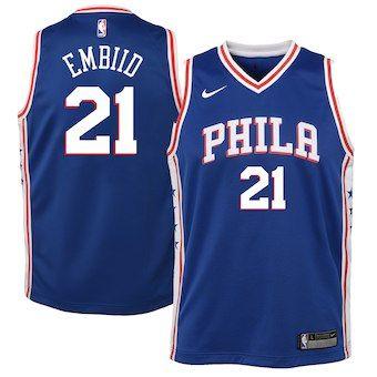 187c64b3fd5 Joel Embiid Philadelphia 76ers Nike Youth Swingman Jersey Blue - Icon  Edition