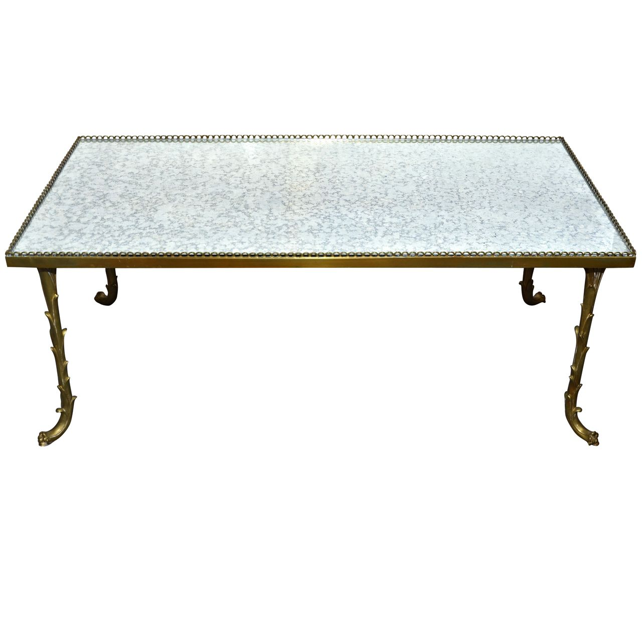 1970's Brass Coffee Table In The Style Of Maison Bagues