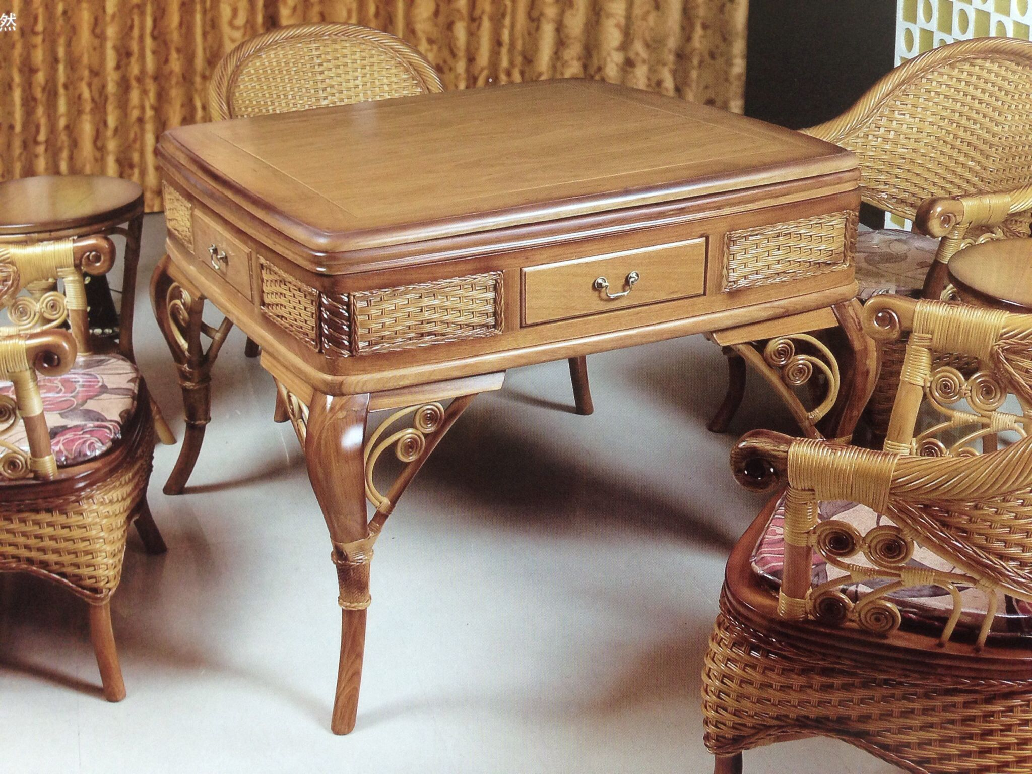 Fine Automatic Mahjong Table Made By Cane Wooden Home Remodel Download Free Architecture Designs Sospemadebymaigaardcom