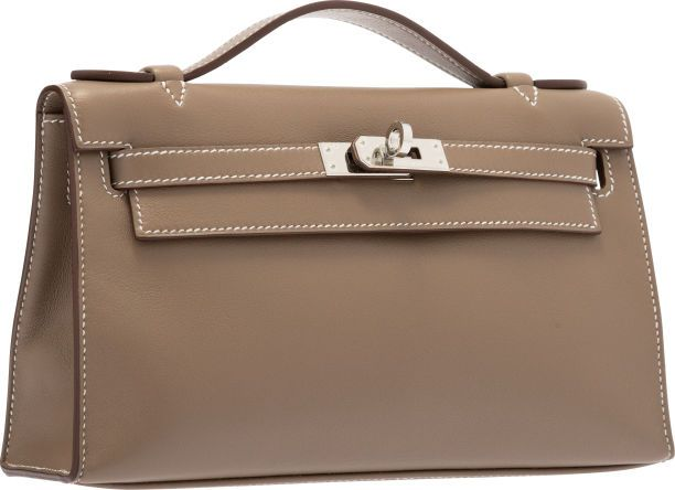7d178d3e9a15 Hermes Etoupe Swift Leather Kelly Pochette Bag with Palladium Hardware.
