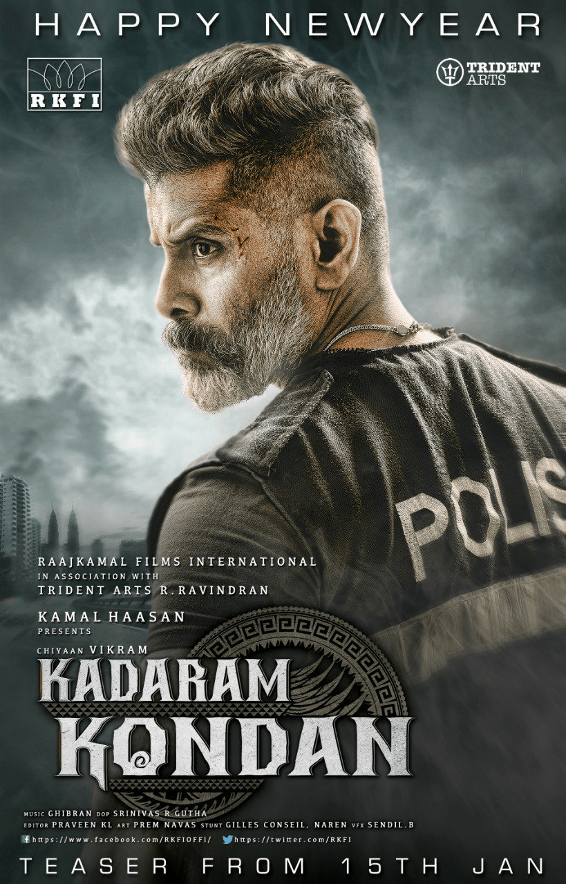 Chiyaan Vikram Starrer Kadaram Kondan Second Look Poster Bollywood Pictures Latest Movies Movies Online