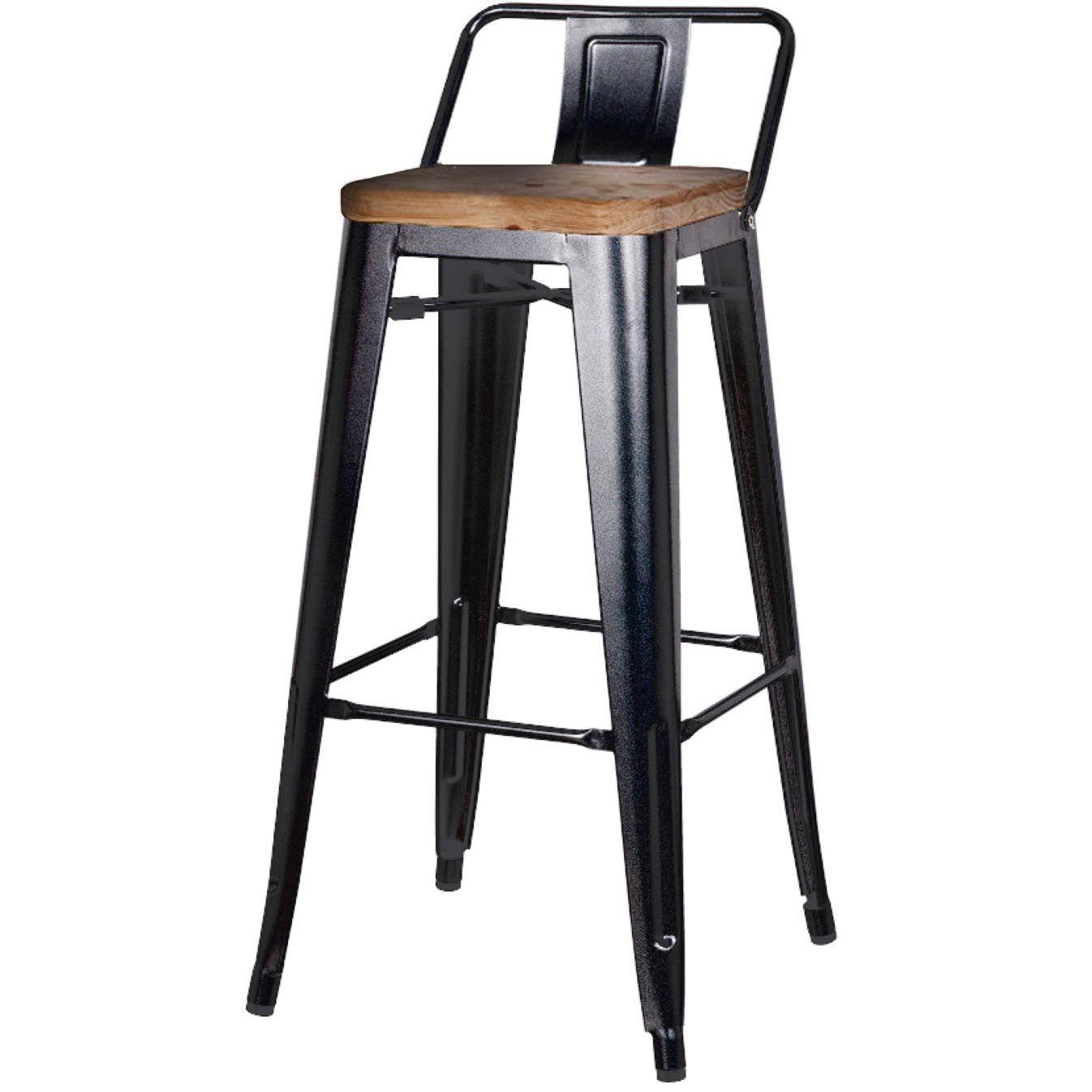 Wonderful Metropolis Low Back Bar Stool, Wood Seat, Black, Set Of 4