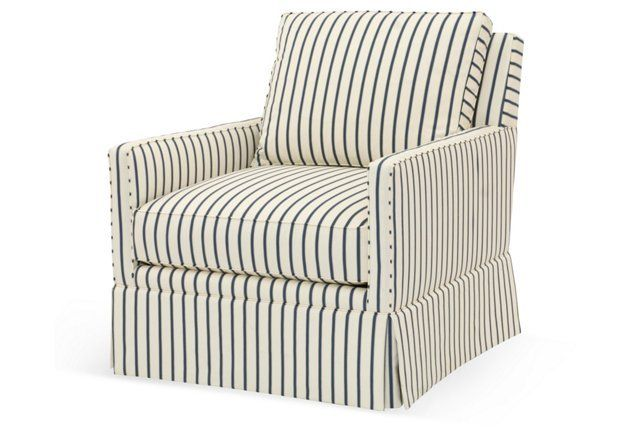Fantastic Auburn Club Chair Cream Blue Stripe Upholstered Swivel Customarchery Wood Chair Design Ideas Customarcherynet