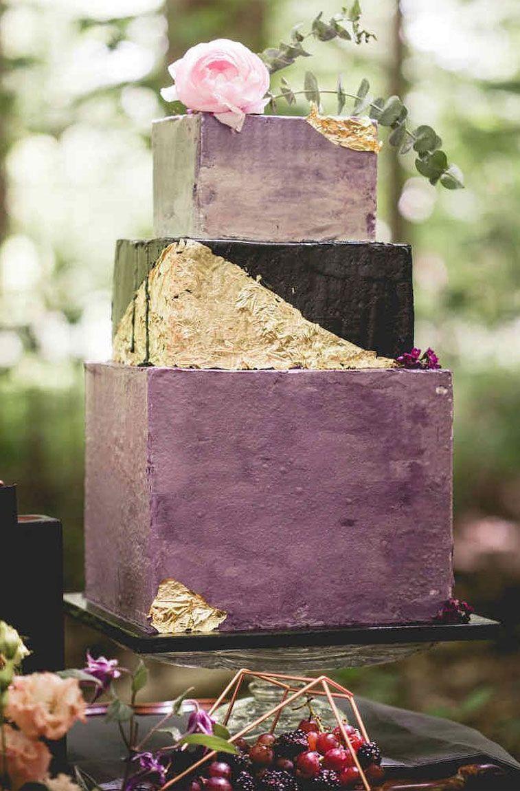 Gold leaf and purple geometric wedding cake - Fabmood | Wedding ...