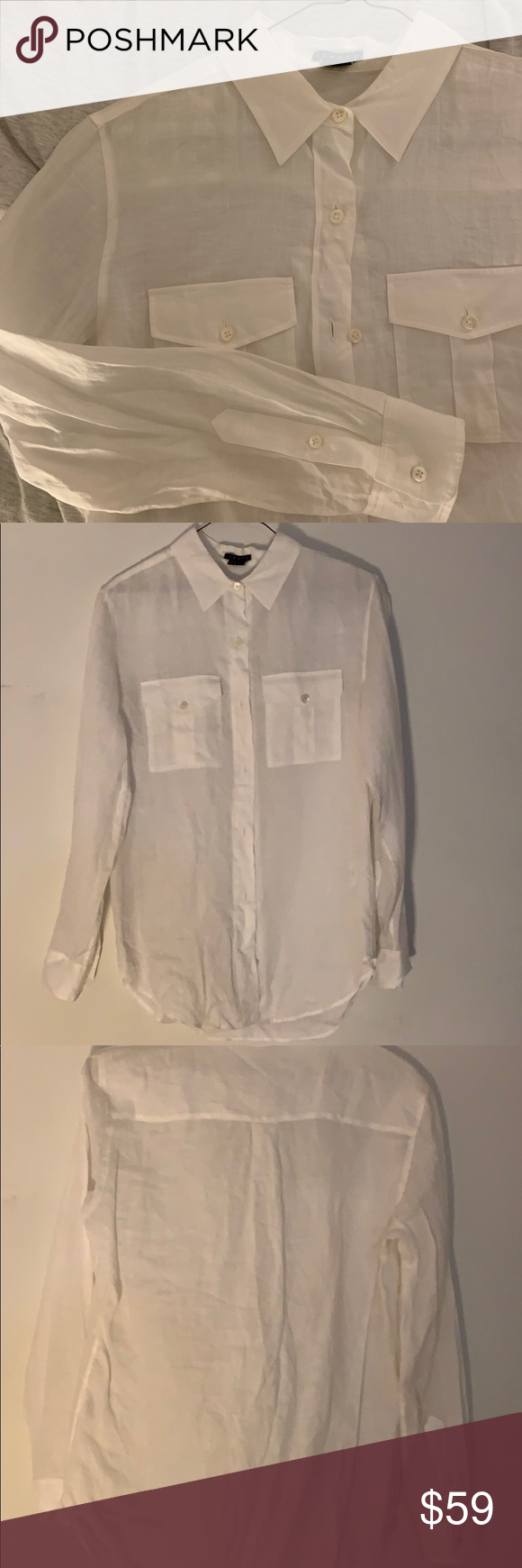78ffddf7 Theory Essential Women's Linen Button Down Shirt Brand new without tags  (just wrinkled from storage) Theory Essential White Linen Button Down Shirt  Size ...