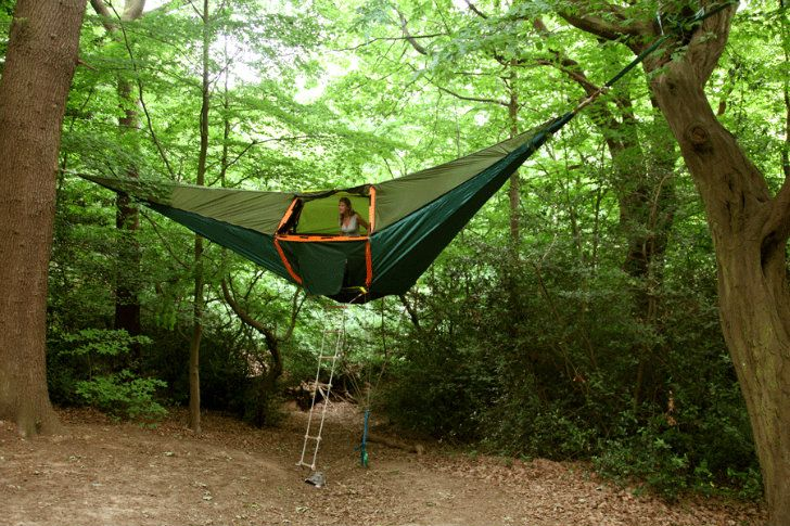 """Want to go camping, but afraid of bugs, snakes, or bears? Pitch your tent in the air, above the forest floor and away from critters and potential predators, with Tentsile, """"the world's most versatile tent."""" The portable tent-hammock hybrid can be used in nearly any environment, anchored to trees in the heart of a forest, hovering over shifting beach sands, pitched above the plains for a brief respite on a safari, or even suspended over disaster and flood zones."""