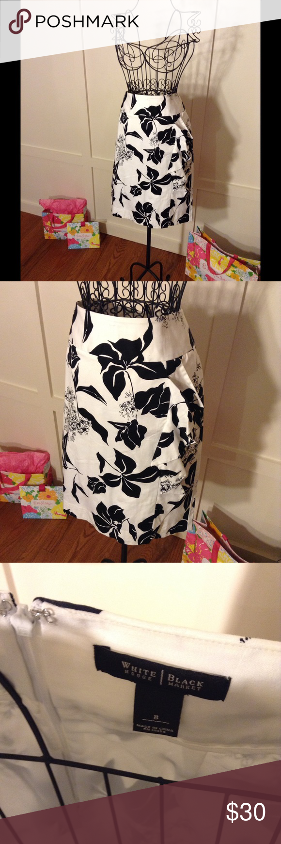 d60e1d5e7 WHBM Pencil Skirt with Ruffle Detail Excellent condition! White House Black  Market Skirts