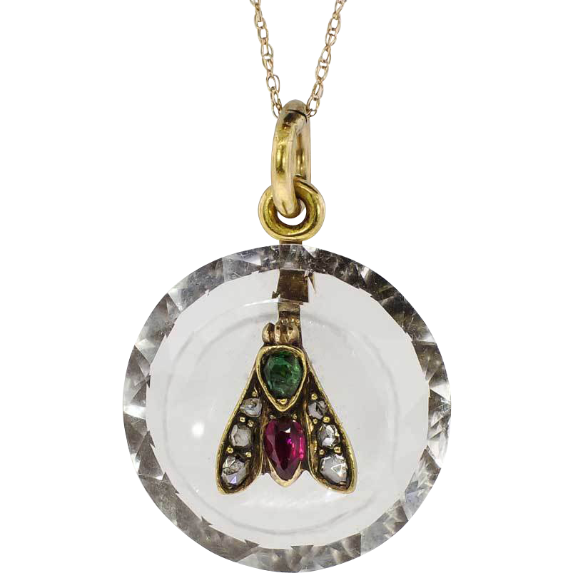 Rare 1860's Ruby Emerald Rose Cut Diamond Rock Crystal Fly Pendant 14k from jewelryfinds on Ruby Lane