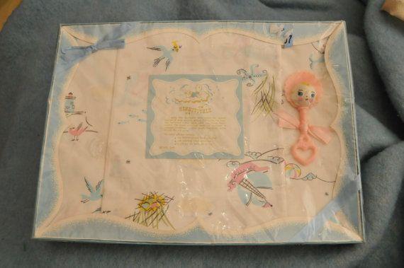 Baby Nash S Vintage Nautical Nursery: New Old Stock 1950s Pink Baby Blue Nautical Crib Sheet Set