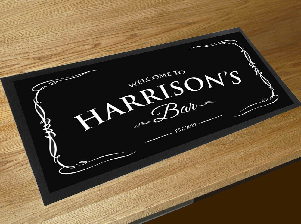 Personalised Welcome vintage black beer label bar runner mat