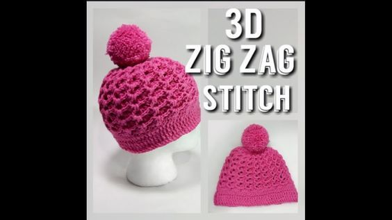 3D Zig Zag Stitch - Crochet hat - Ribbed crochet hat pattern ...