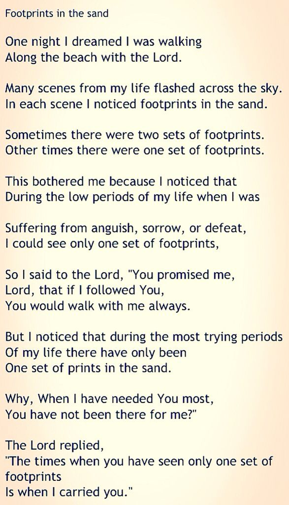 Wonderbaarlijk Mooiste gedicht ooit... Footprints in the sand... | Spreuken RR-32