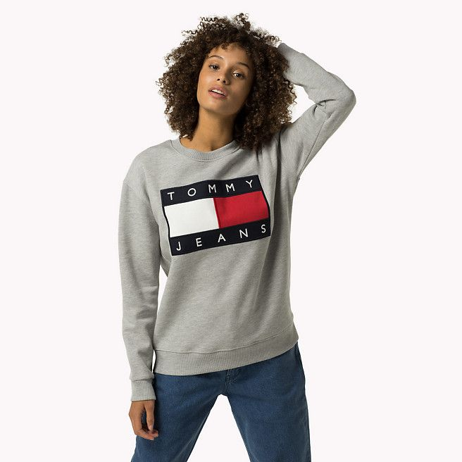 Tommy Hilfiger Cotton Fleece Logo Sweatshirt Grey Marl Grey Tommy Hilfiger Sweatshirts Main Image Tommy Hilfiger Sweatshirt Tommy Hilfiger Sweatshirts