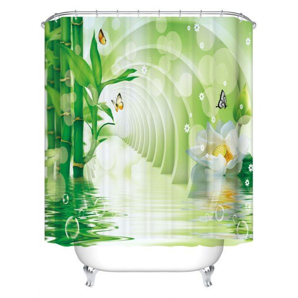 Bamboo Lotus Print Waterproof Bathroom Shower Curtain TURQUOISE CM In Curtains