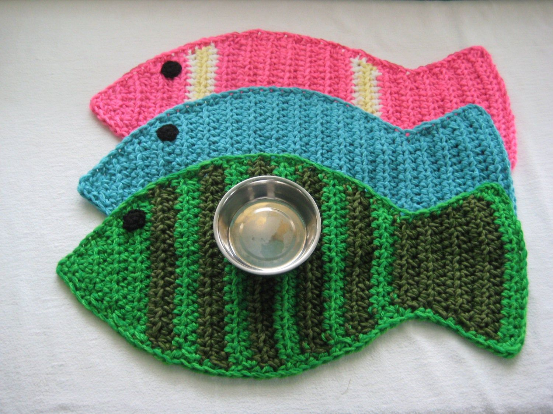 Crochet Pattern Fish Placemat Rug Cat Pet Food Floor Mat Etsy Crochet Fish Crochet Patterns Crochet Placemats