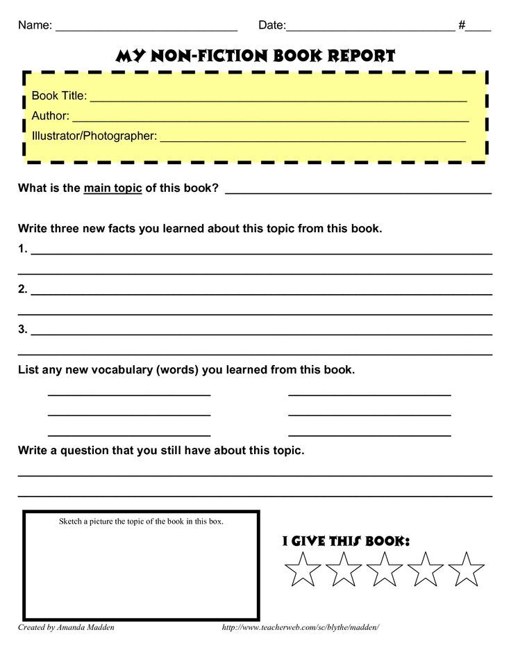 Image result for grade 4 book report template non fiction Home - a report template