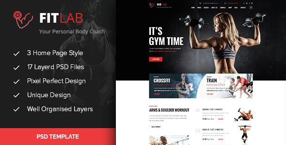 FITLAB - Fitness, GYM & Health PSD Template . FITLAB is a PSD ... on personal training gym set up, personal training design, personal home library design, personal home gym equipment, personal trainer weight training,