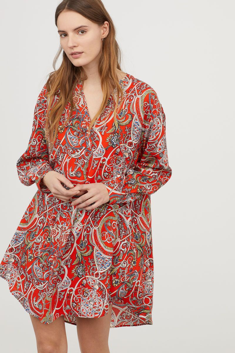 ed16a835e4a4ed Tunic | Red/Patterned | LADIES | H&M VN Crisp White Shirt, White Shirts