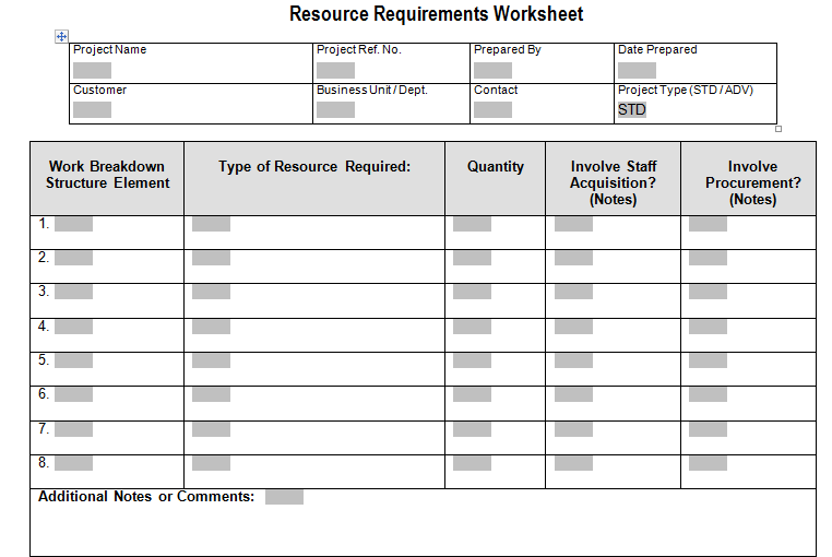 Resource Requirements Worksheet Download For Project Management