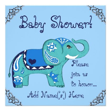 Henna elephant baby shower card baby gifts giftidea diy unique henna elephant baby shower card animal gift ideas animals and pets diy customize negle Images