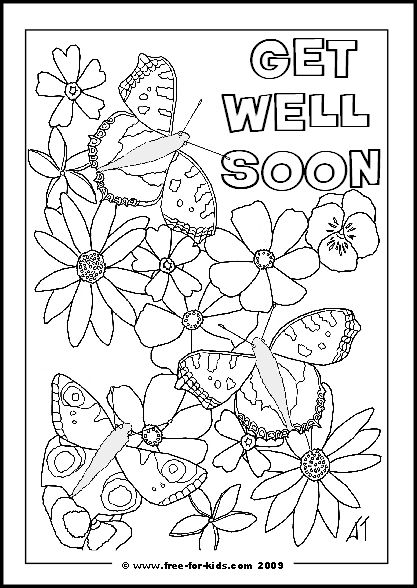 Flowers and Butterflies with Get Well Soon Message