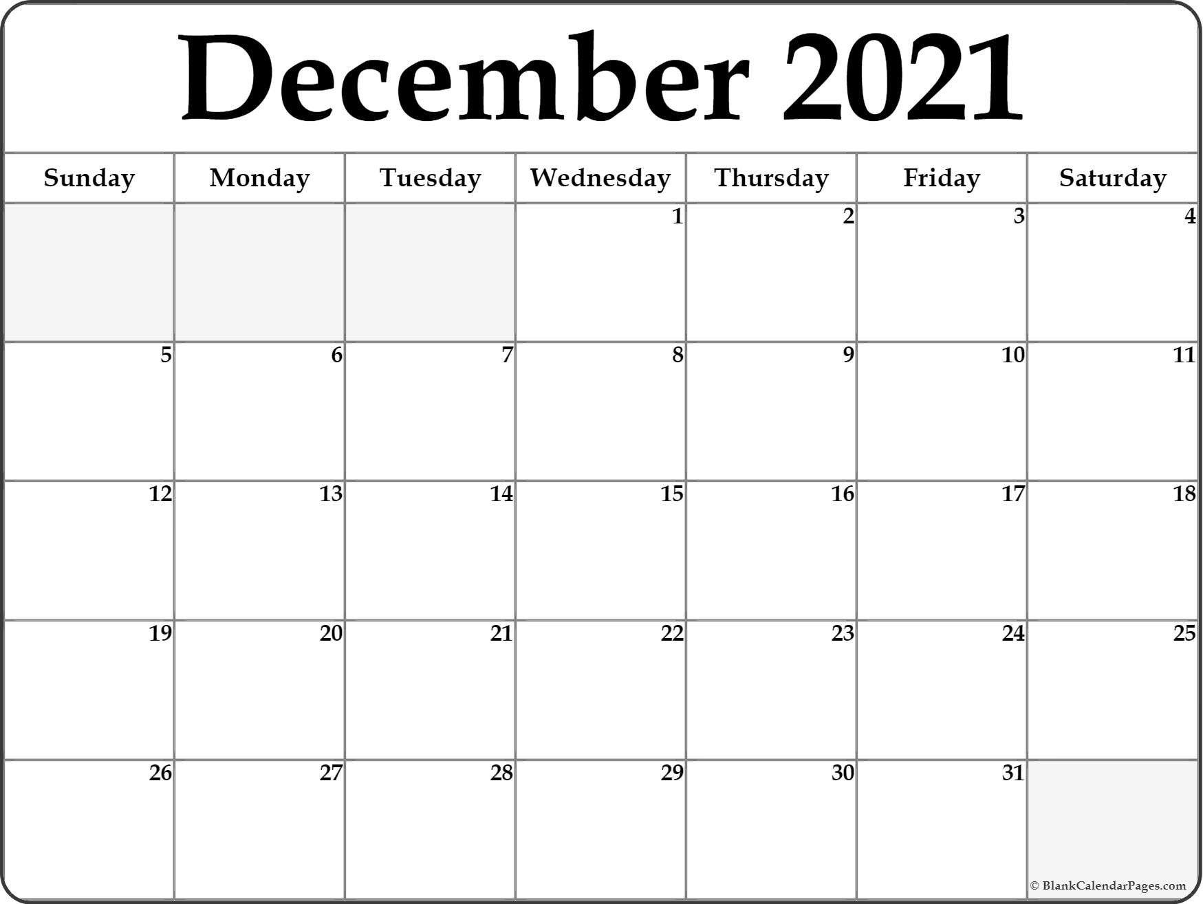 Printable Calendar For December 2021 december 2021 blank calendar templates december 2021 blank