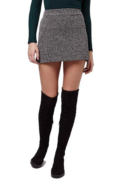 f0052c727db2 Love this look for winter - mini skirt with elastic over the knee boots.