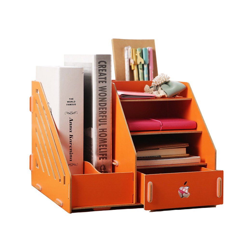 Desktop File Holder Stationery Organiser Desk Tidy Made Of Eco Wood Panel Orange M22 Wooden