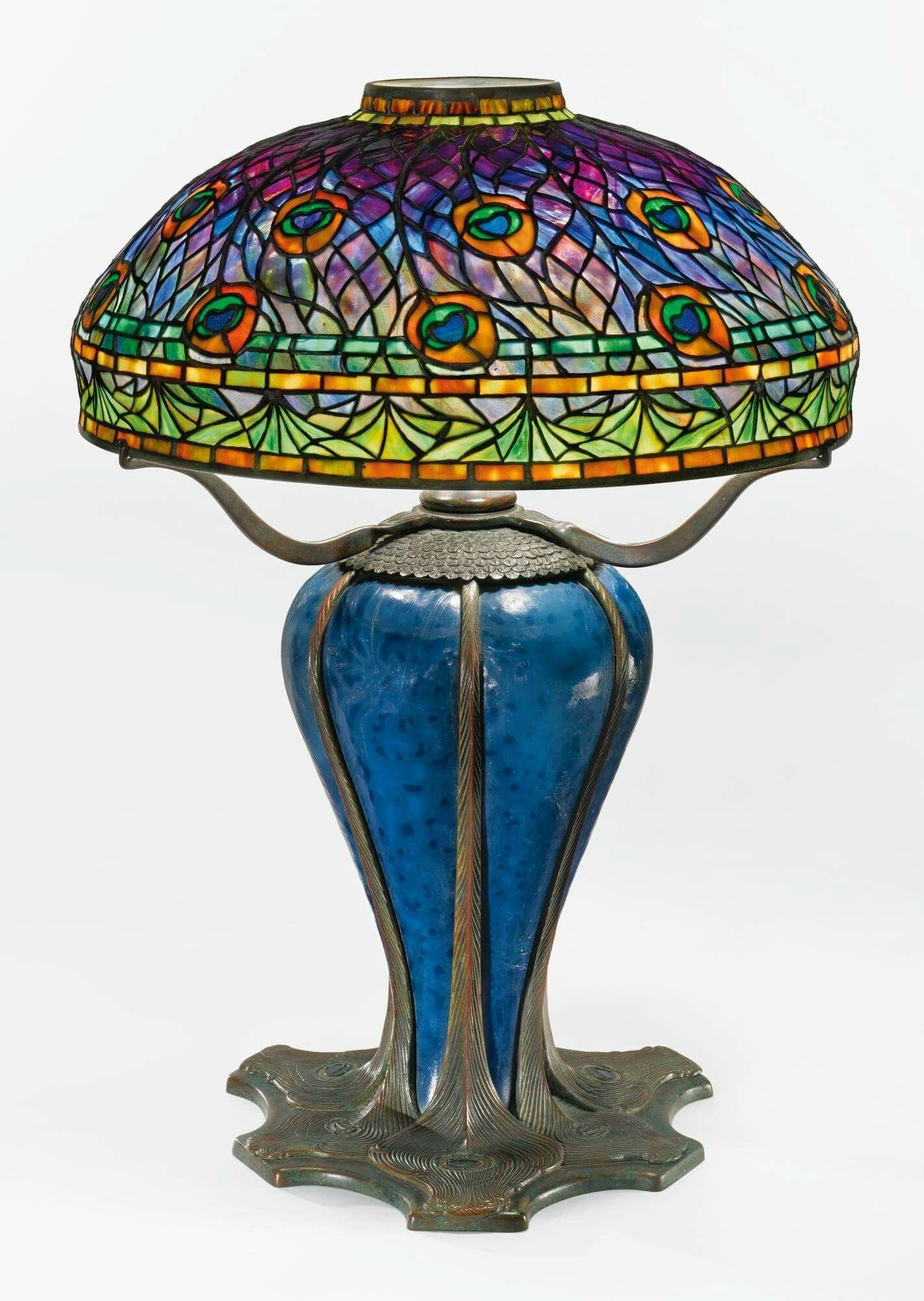 Tiffany Peacock Table Lamp 1905 Tiffany Style Oh How I Love