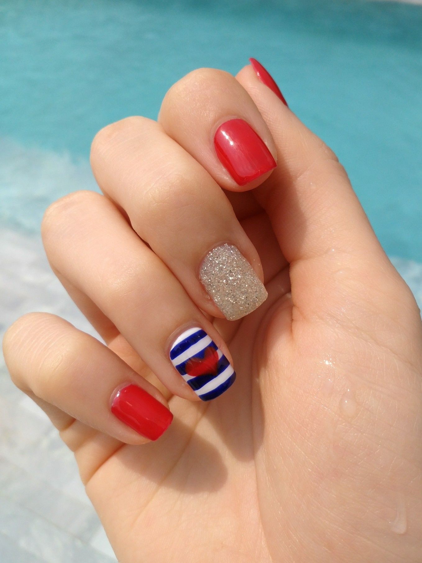 Nautic Sailor Nails Red Blue White Stripes And Glitter A