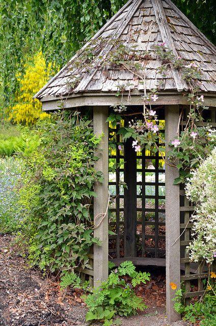 Old wooden garden gazebo