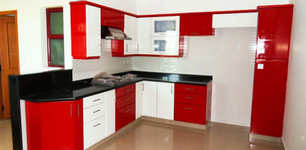 Innovative Small Modular Kitchen Decor Inspirations Contemporary Red White And Black Color Scheme With Tan Ceramic Tiles Flooring