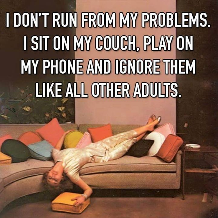 I don't run from my problems. I sit on my couch, play on my phone and ignore them like all other adults.