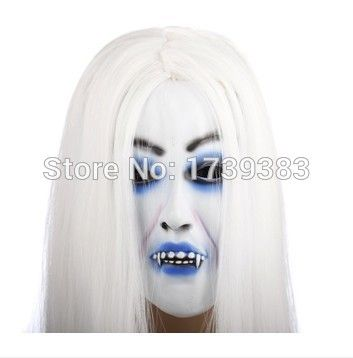 High Quality Magical Halloween White Creepy Female Ghost head latex Rubber Mask Costume Prop Toy FREE SHIPPING
