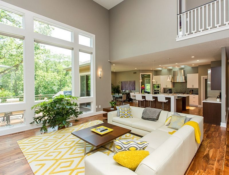 Addition Of Yellow Accent Pillows Allows You To Switch Between Color Schemes With Ease Decoist Living Room