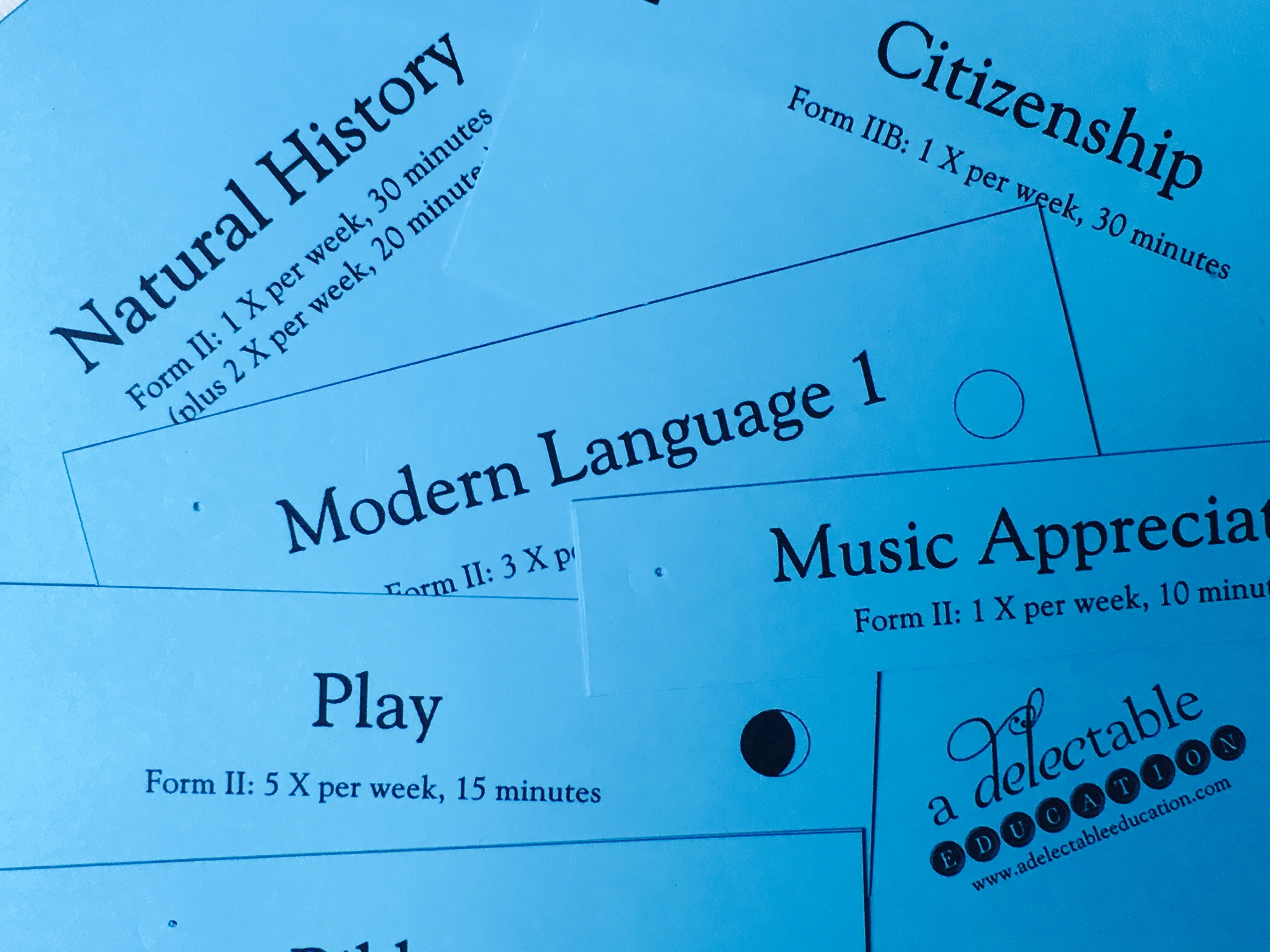Form  Schedule Cards  A Delectable Education Podcast  Ao