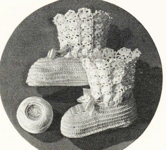 ADORABLE BABY BOOTIES Crochet Vintage Pattern - Bootees for Infant Newborn