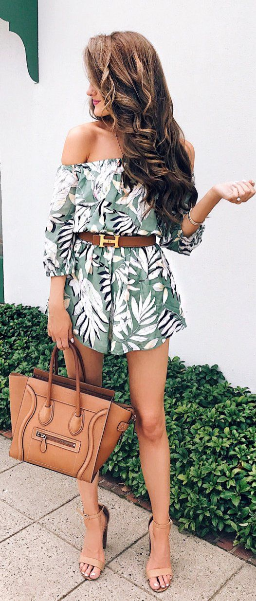 433f0719cc2  summer  outfits Tropical Off The Shoulder Romper + Camel Leather Tote Bag  + Nude Sandals