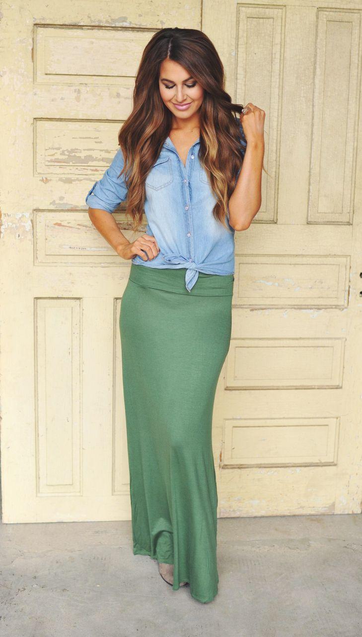 Dottie Couture Boutique - Jersey Maxi Skirt- Olive, $24.00 (http://www.dottiecouture.com/jersey-maxi-skirt-olive/)
