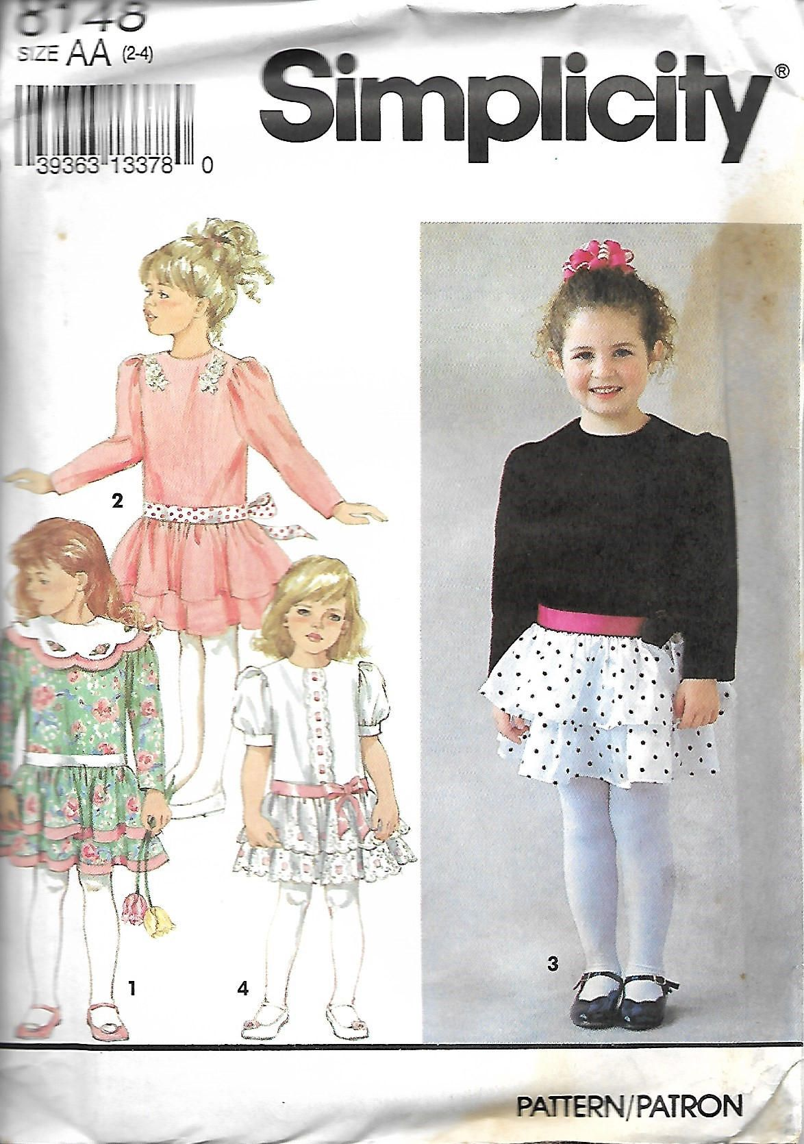 Simplicity 8148 Child's Tiered, Dropped Waist Dress