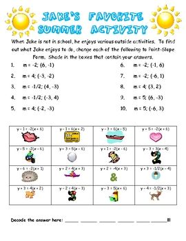 point slope form activity  Point Slope Form, Creating Equation Puzzle Fun Activity ...