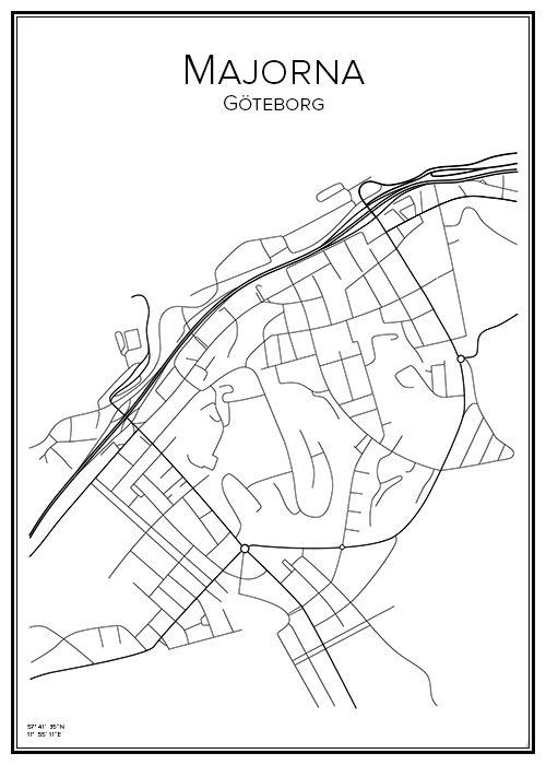 Stadskarta Over Majorna Handritat Goteborg Och Maj