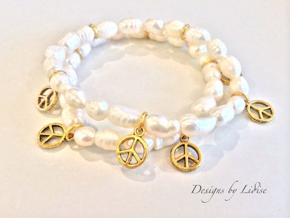 Handmade Beaded Antique Gold Peace Charm by DesignsByLidise, $22.00