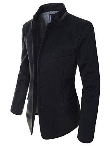 d5e22237b1b0 Showblanc(SBDJK8) Man s Slim FIt Chinese Collar 2 button Casual Style  Blazer BLACK X