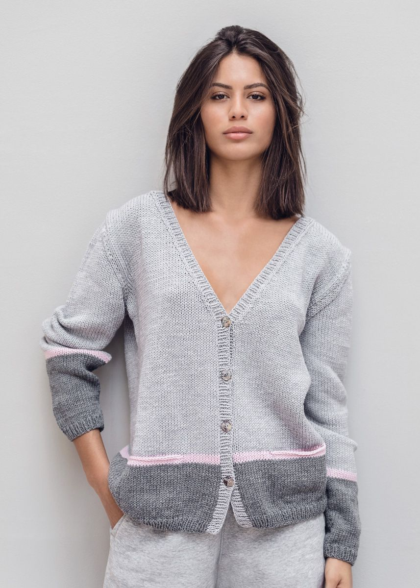 Lana Grossa CARDIGAN Cool Wool Big Melange CLASSICI No. 19