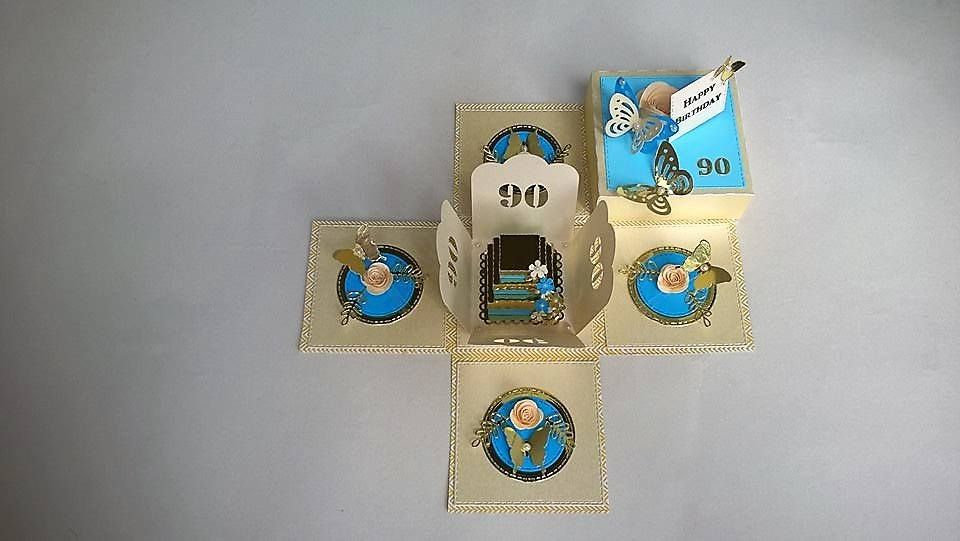 90th Birthday, exploding box card, blue and gold, with